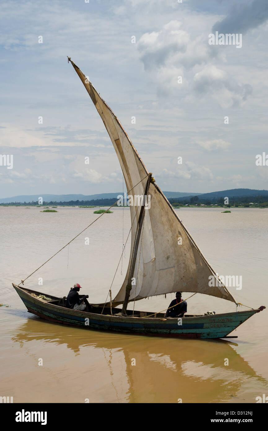 Fishing dhow, Kendu Bay, Lake Victoria, Kenya Stock Photo