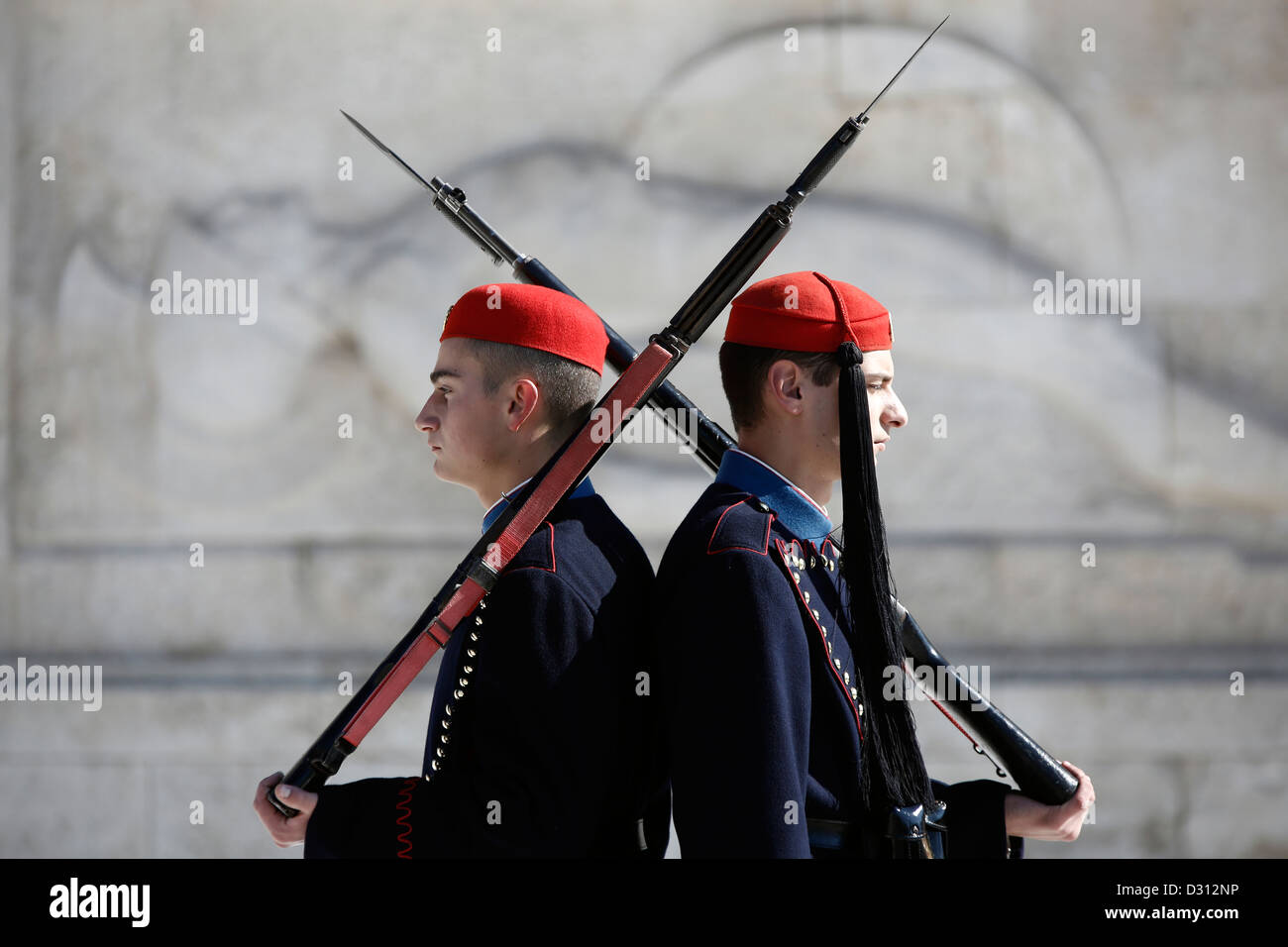 Presidential Guards (Evzones) performing a change of shift in front of the Tomb of the Unknown Soldier, Athens, - Stock Image