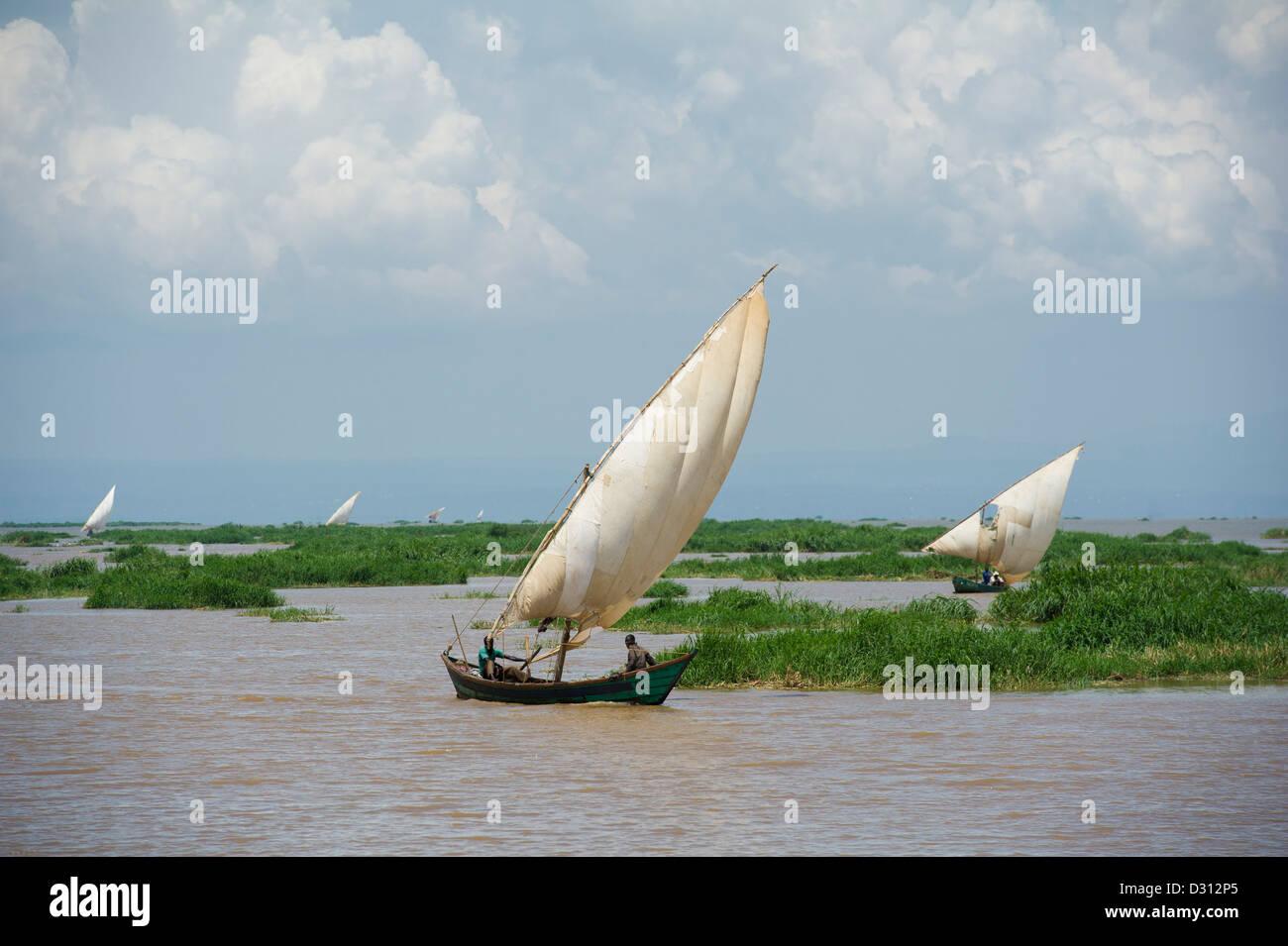 Fishing dhows, Kendu Bay, Lake Victoria, Kenya Stock Photo