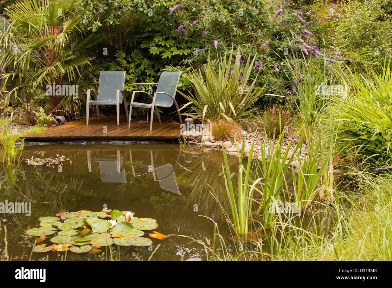 Garden seating on wooden decking, overlooking wildlife pond, England ...