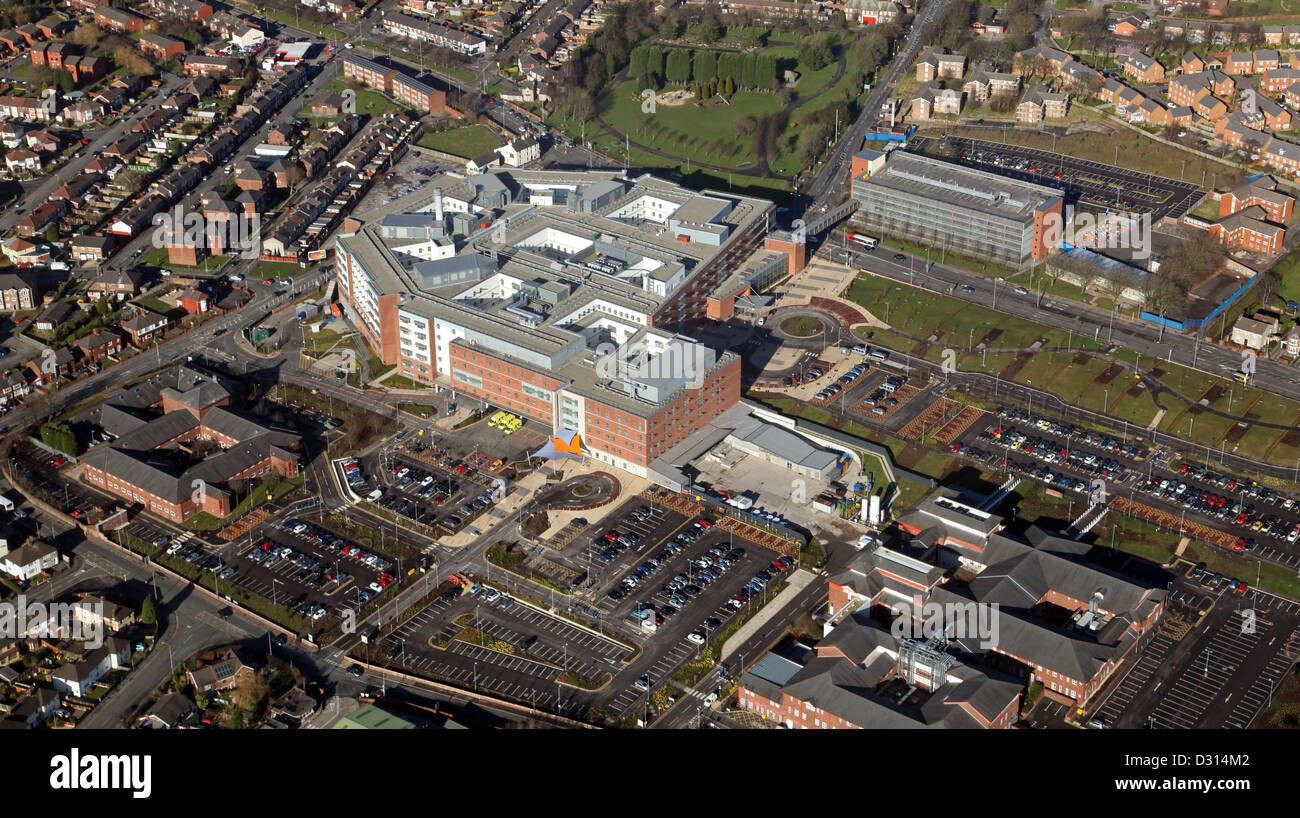 aerial view of Whiston Hospital part of the St Helens & Knowsley Teaching Hospital NHS Trust, Prescot,Merseyside - Stock Image