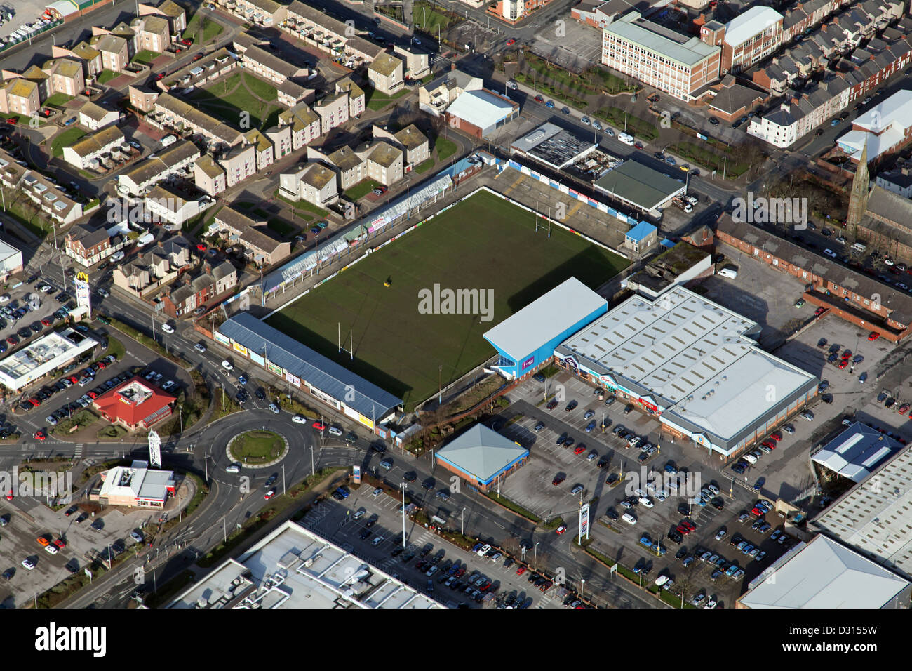 aerial view of the Barrow Raiders rugby league club stadium in Barrow-in-Furness - Stock Image