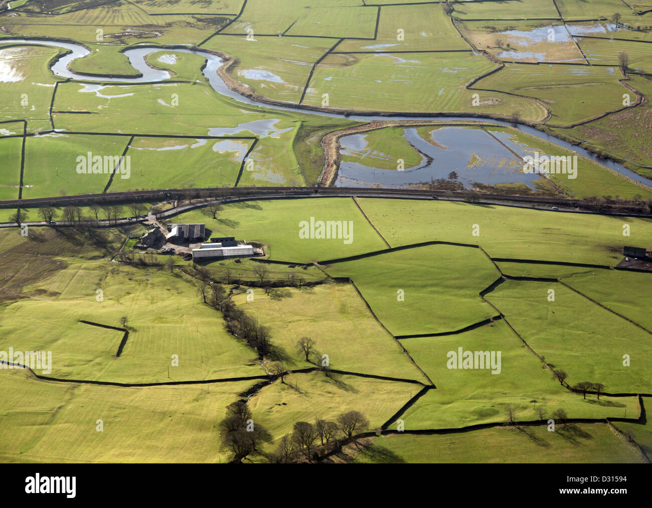 aerial view of dry stone walls and typical English countryside - Stock Image