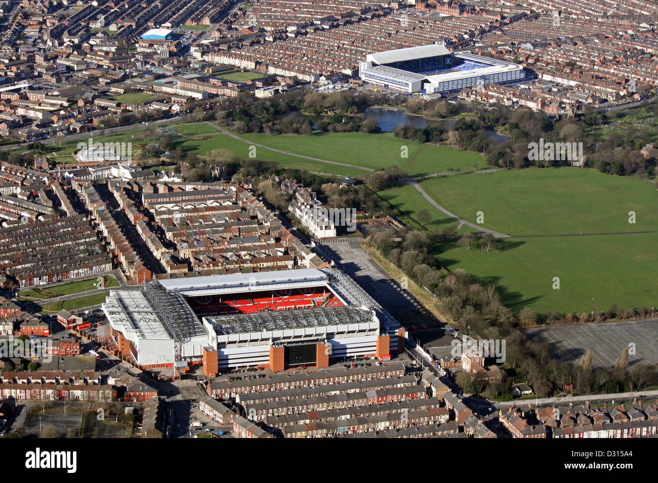 aerial view of Liverpool FC Anfield Stadium looking across Stanley Park to Everton FC Goodison Park Stadium, Liverpool Stock Photo