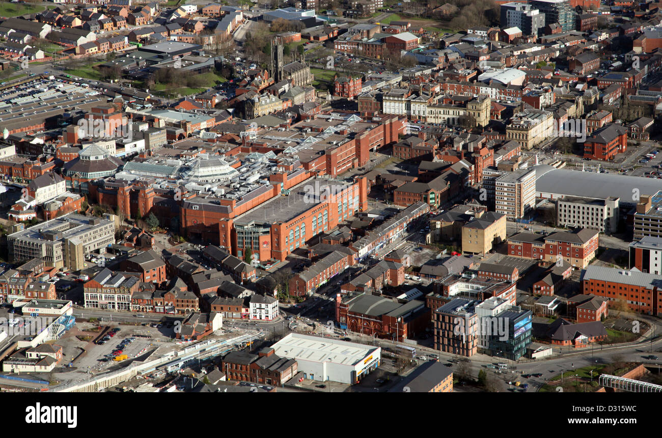 aerial view of Oldham town centre in Lancashire - Stock Image