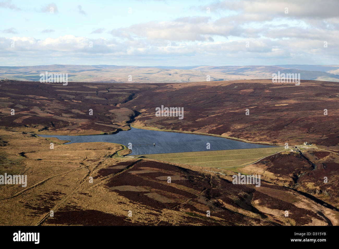 aerial view of a reservoir on the Pennines, UK - Stock Image