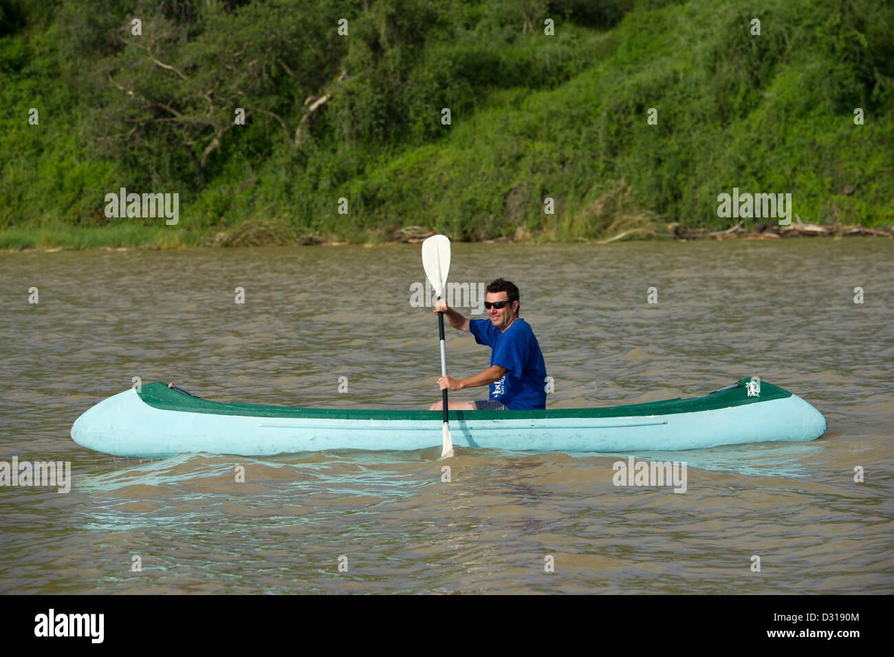 Canoeing on Lake Baringo, Kenya Stock Photo