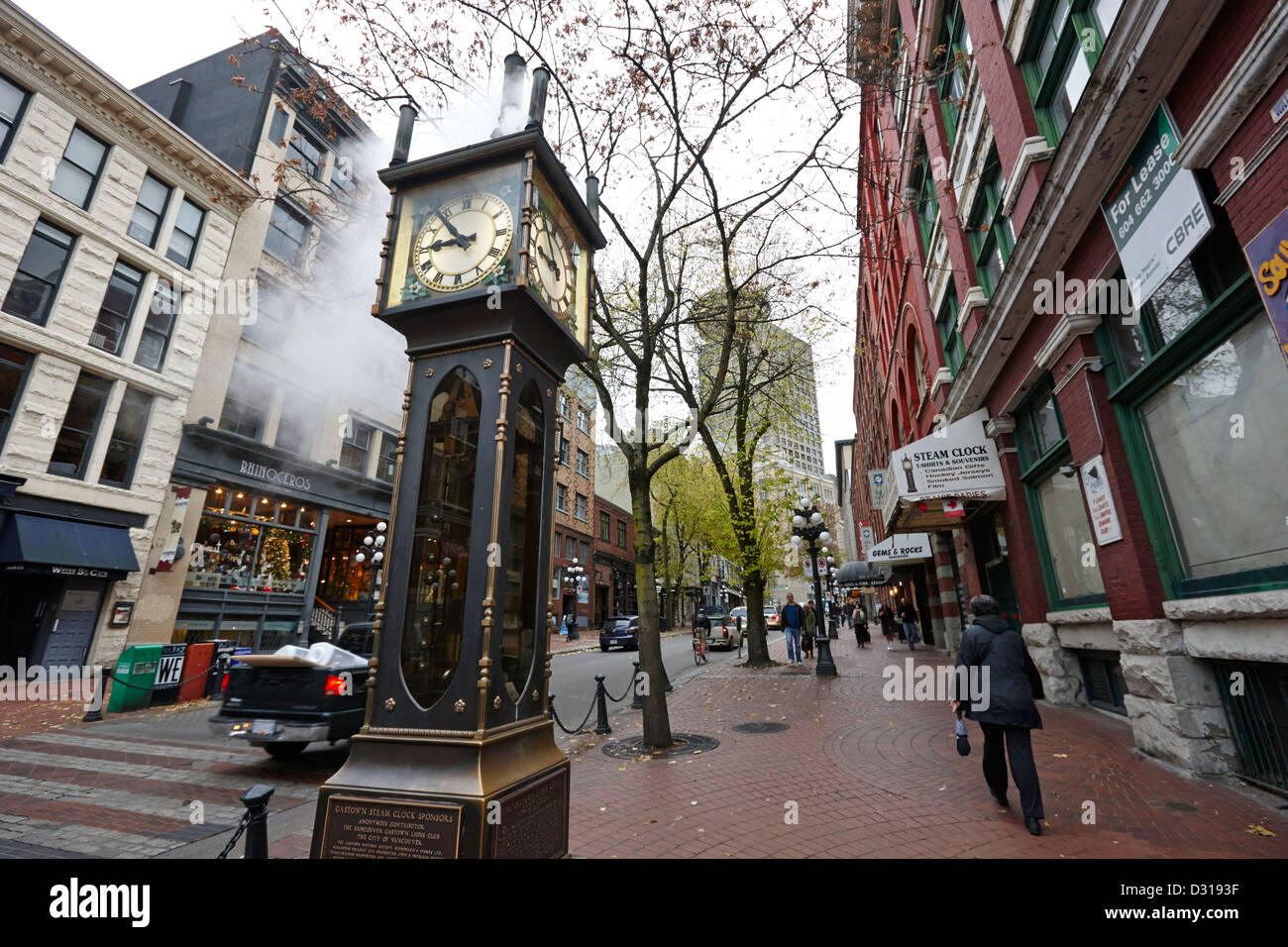 old steam powered clock on water street in the historic gastown district Vancouver BC Canada - Stock Image