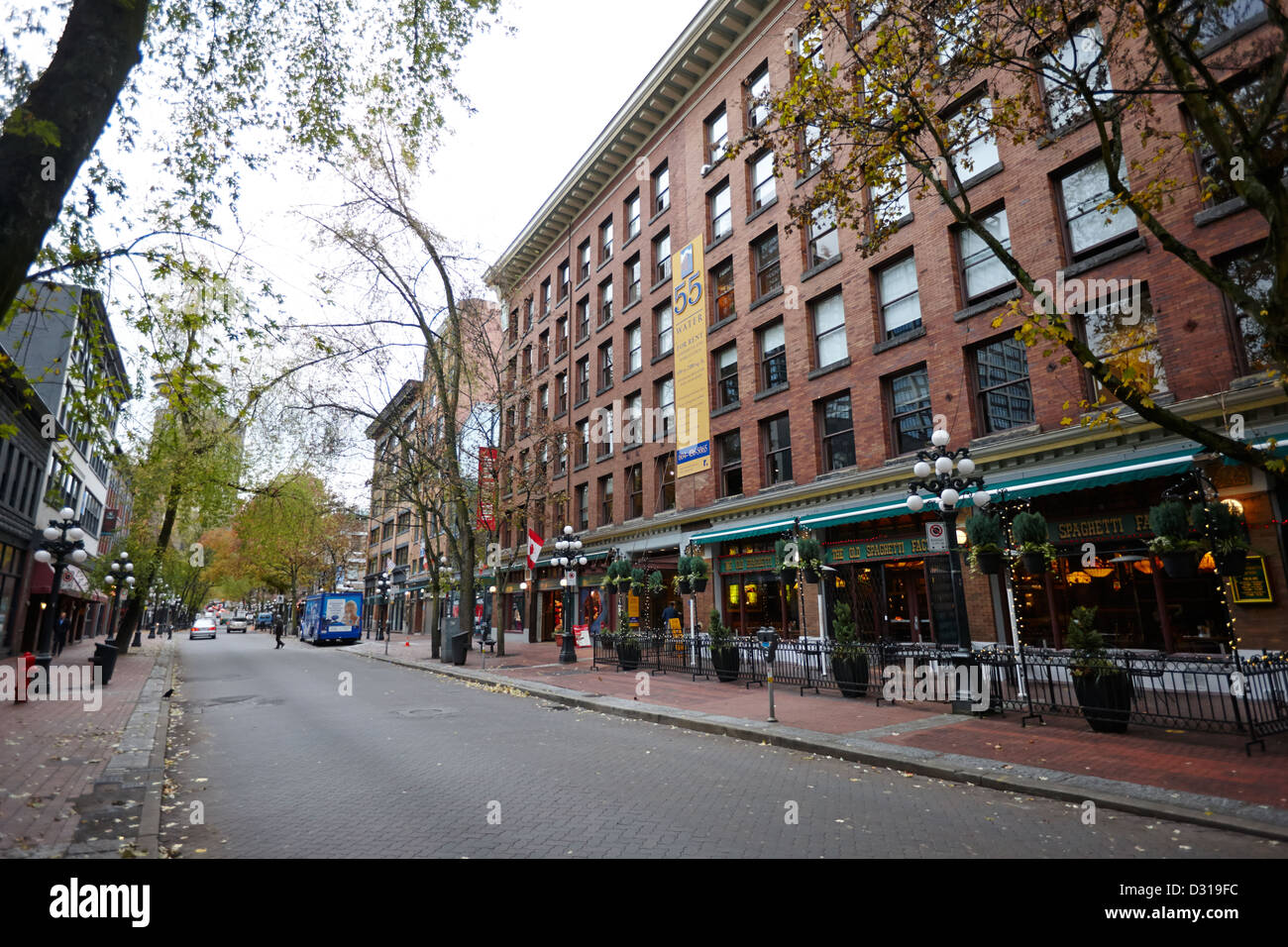 old warehouses and red brick buildings on historic water street in gastown Vancouver BC Canada - Stock Image