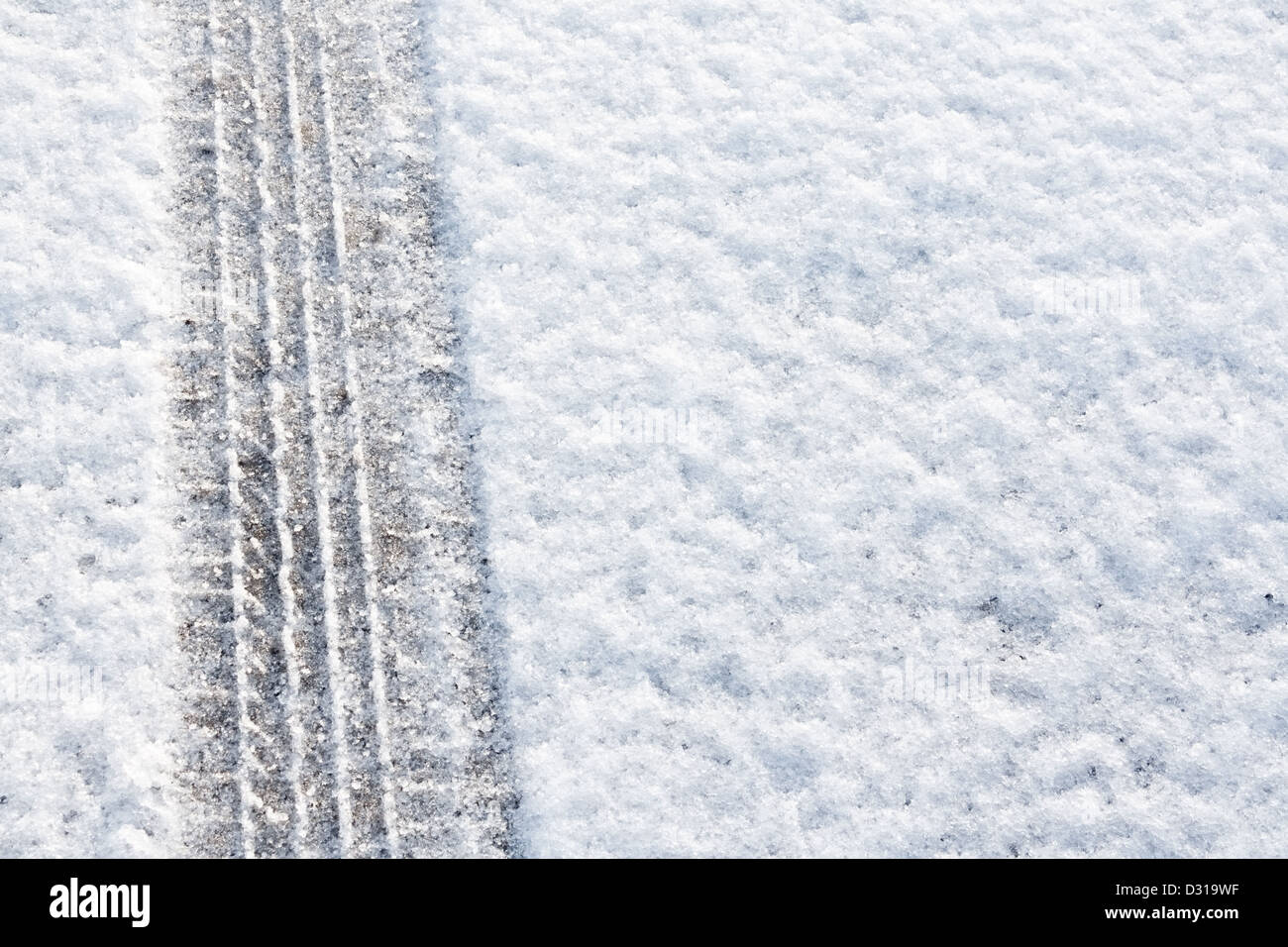 tyre tracks imprinted into fresh snow a great background for rallies or four wheel drive cars - Stock Image