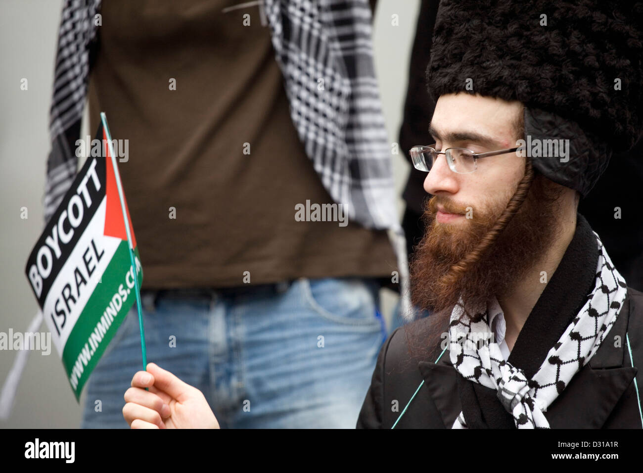 Rabbis against Zionism protesting at an anti Israel demonstration in London, - Stock Image