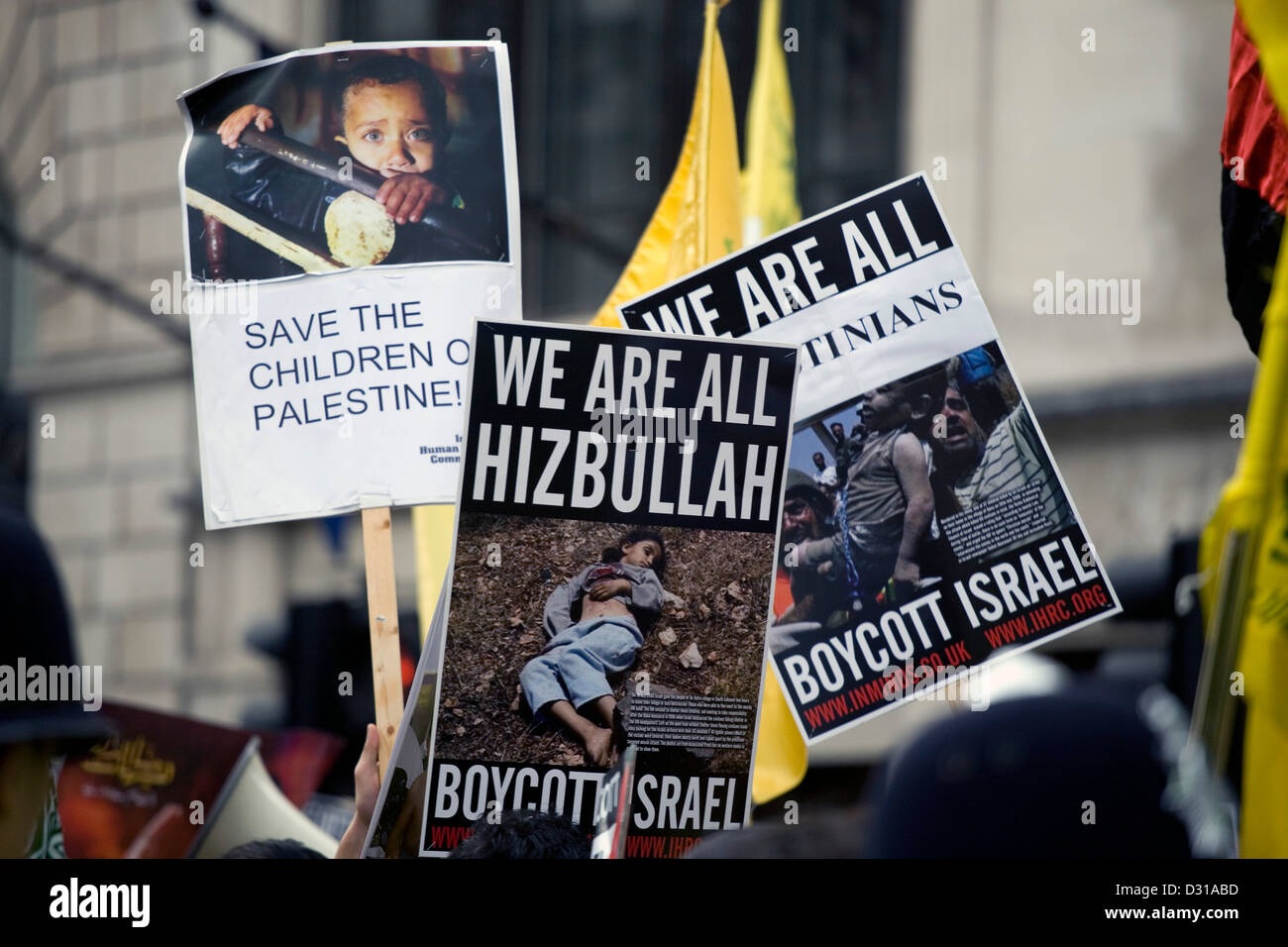 Photographs taken at an anti-Israel protest in London. - Stock Image