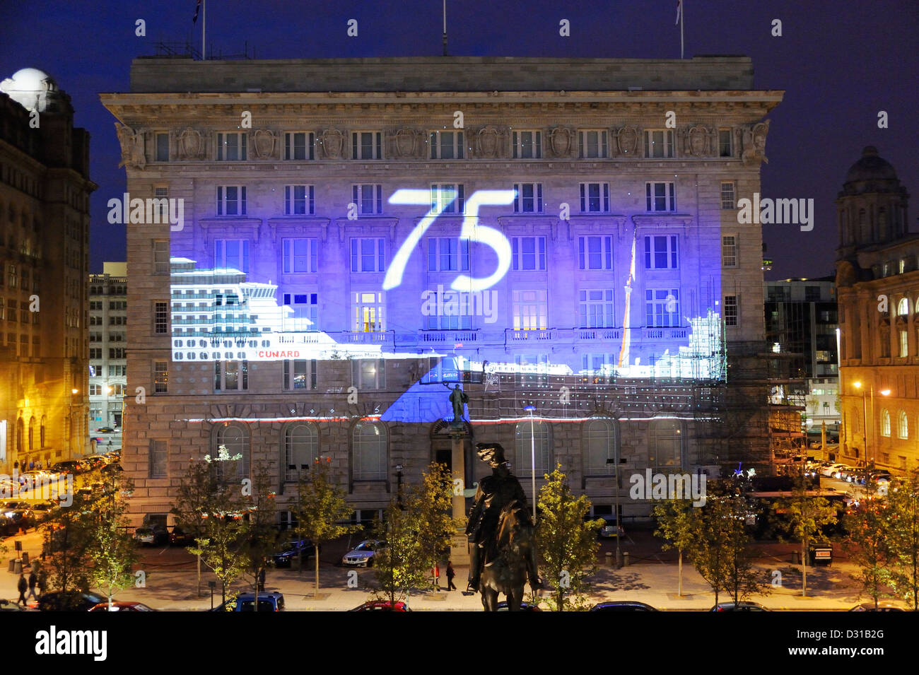 Images projected on the Cunard Building, Grade 2 listed building on Liverpools waterfront celebrating Cunards 75th. - Stock Image