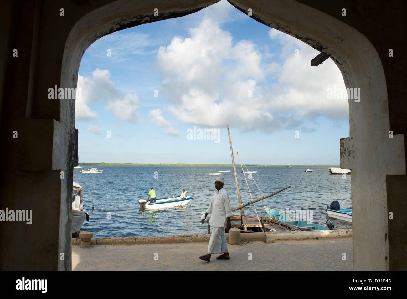 Lamu waterfront, Lamu Archipelago, Kenya Stock Photo