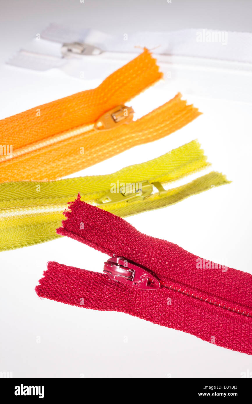 Colorful Zippers Still Life - Stock Image