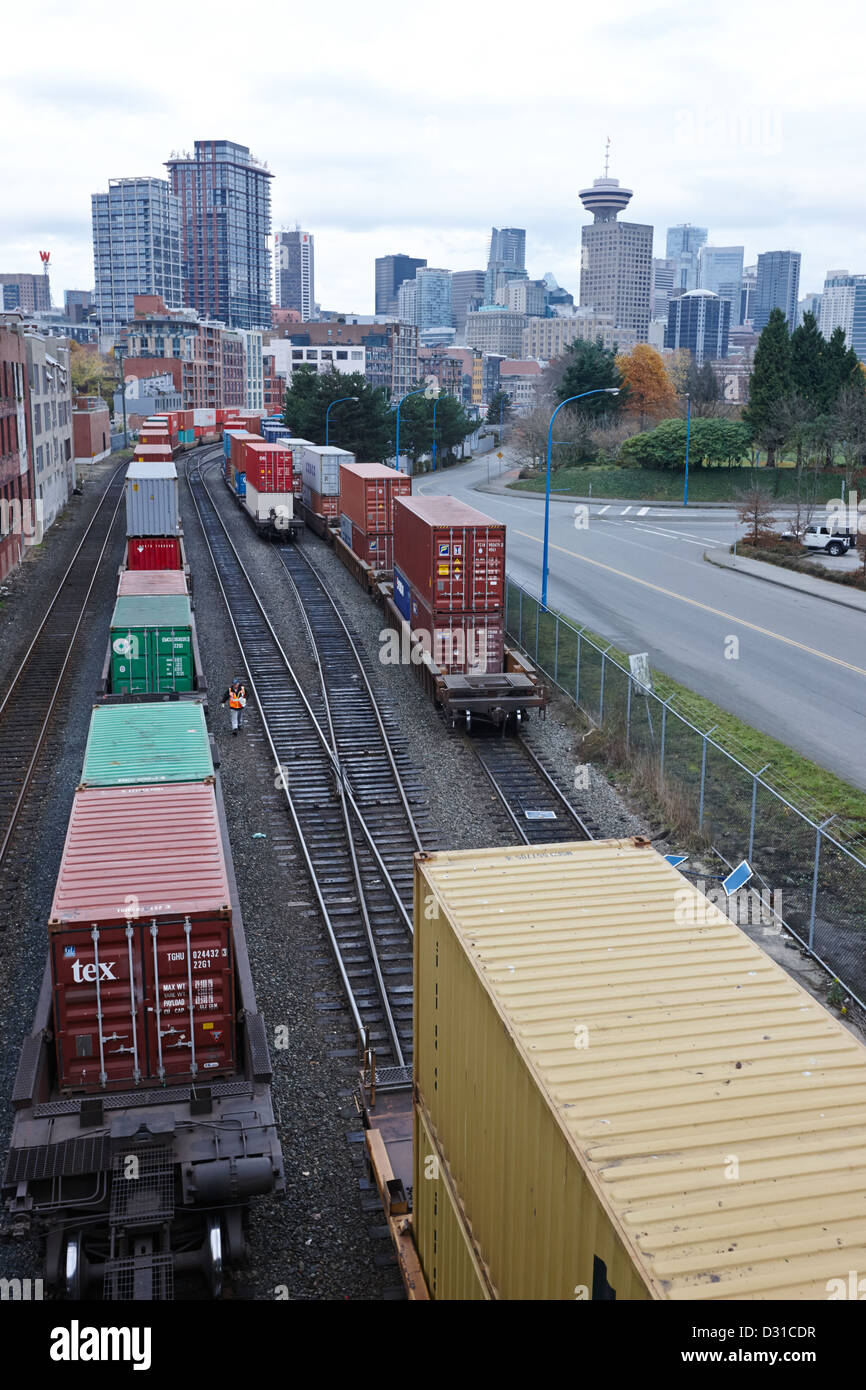 freight train goods tracks Vancouver BC Canada - Stock Image