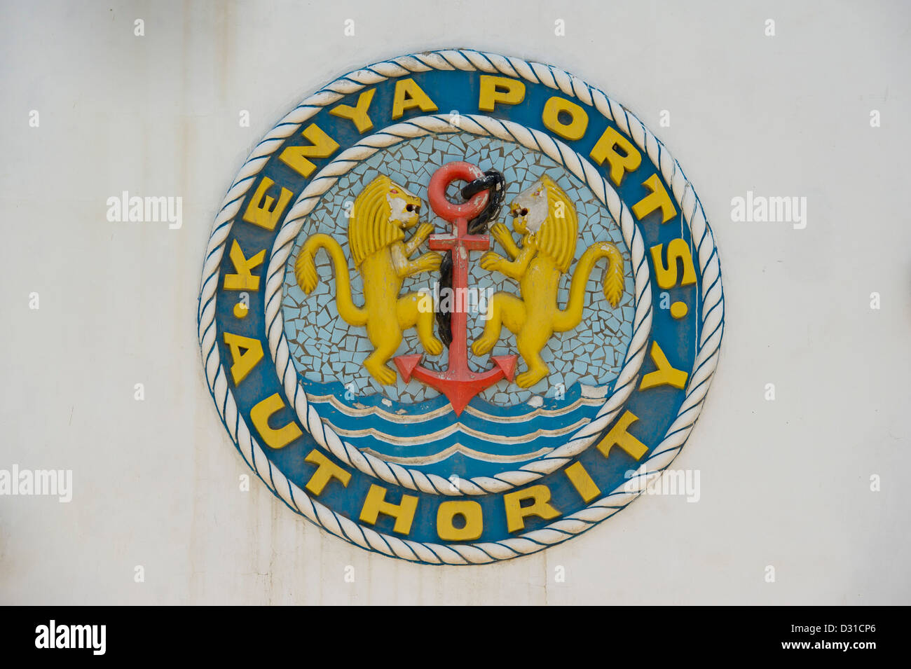 Mural of the Kenya Ports Authority, Lamu, Lamu Archipelago, Kenya - Stock Image