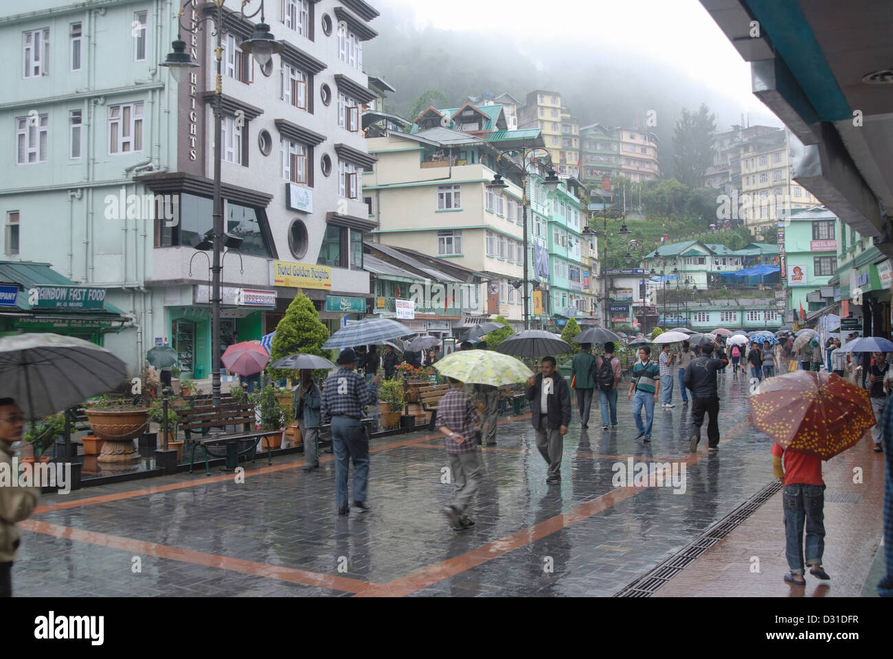 General-View of the Mall road, main shopping area in Gangtok (Sikkim), during rains. - Stock Image