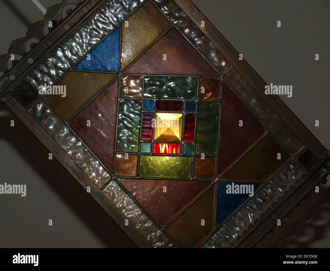 A Square Illuminated Victorian Leaded Stained Glass Lamp Shade Stock Photo Alamy
