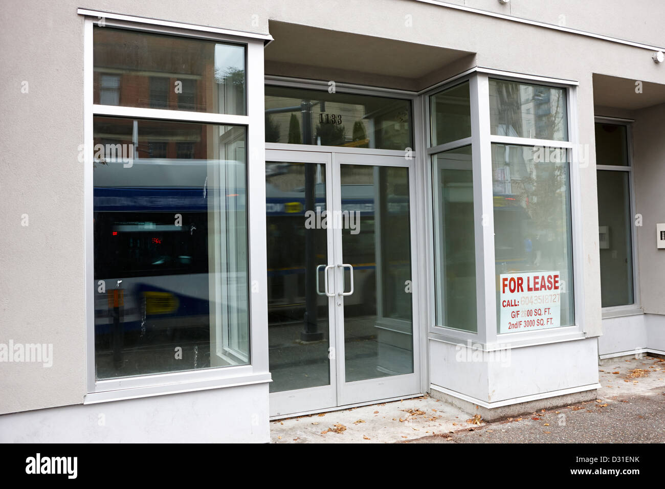 empty downtown store for lease Vancouver BC Canada - Stock Image