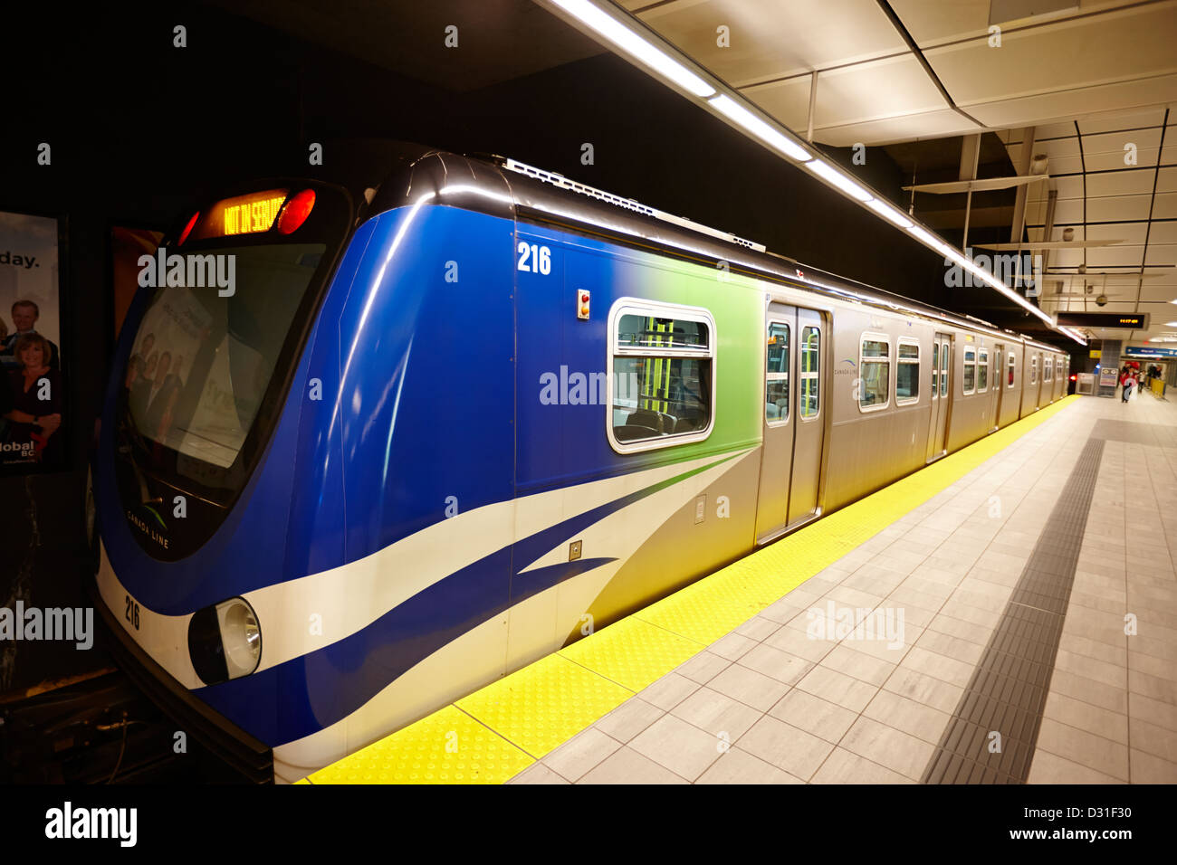 canada line skytrain at waterfront station platform Vancouver BC Canada Stock Photo