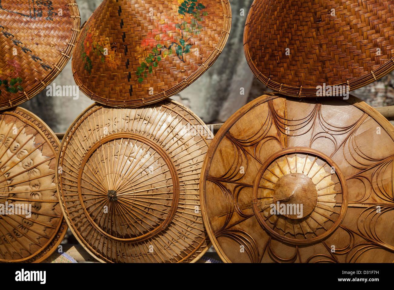 Myanmar, the market, typical headdress - Stock Image