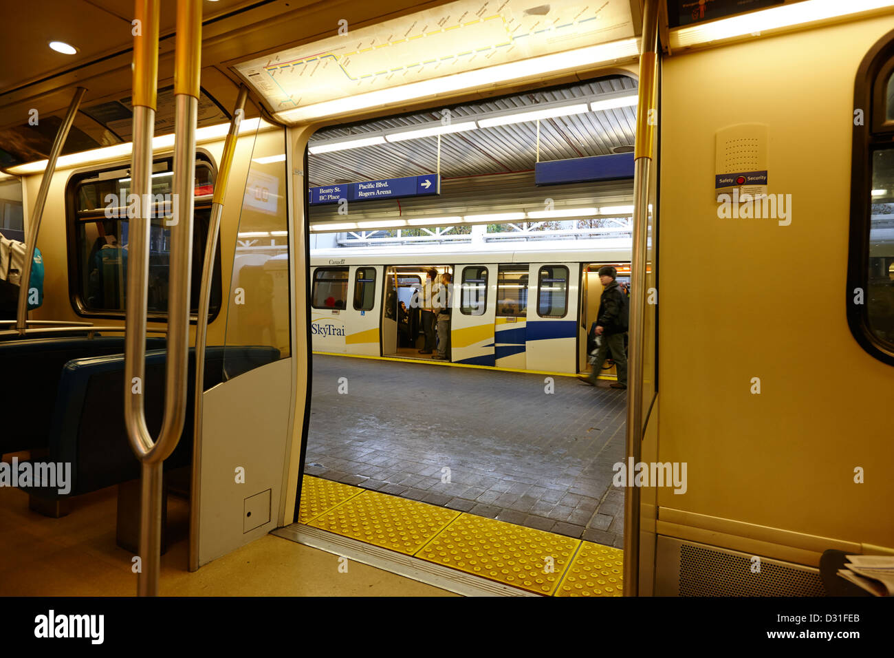 on board canada line skytrain at station Vancouver BC Canada Stock Photo