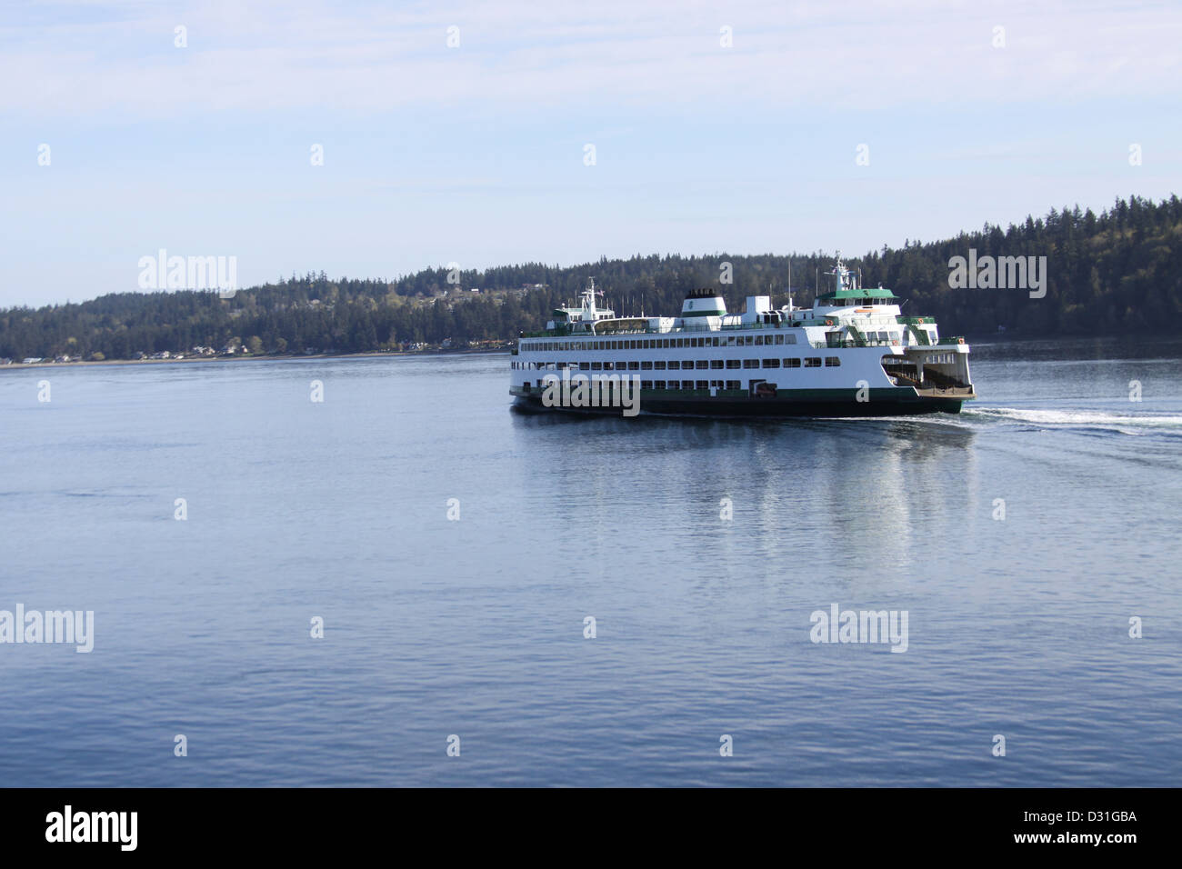 A Washington State ferry, in Puget Sound near Seattle. - Stock Image