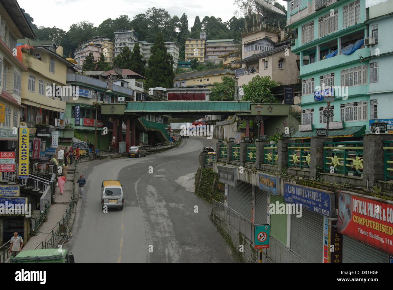 General-View of the Mall road, showing houses and shops which is the main  shopping area in Gangtok (Sikkim), during - Stock Image