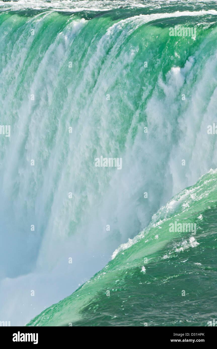 Close up of the spray of the Horseshoe falls waterfall at Niagara Falls Ontario Canada - Stock Image