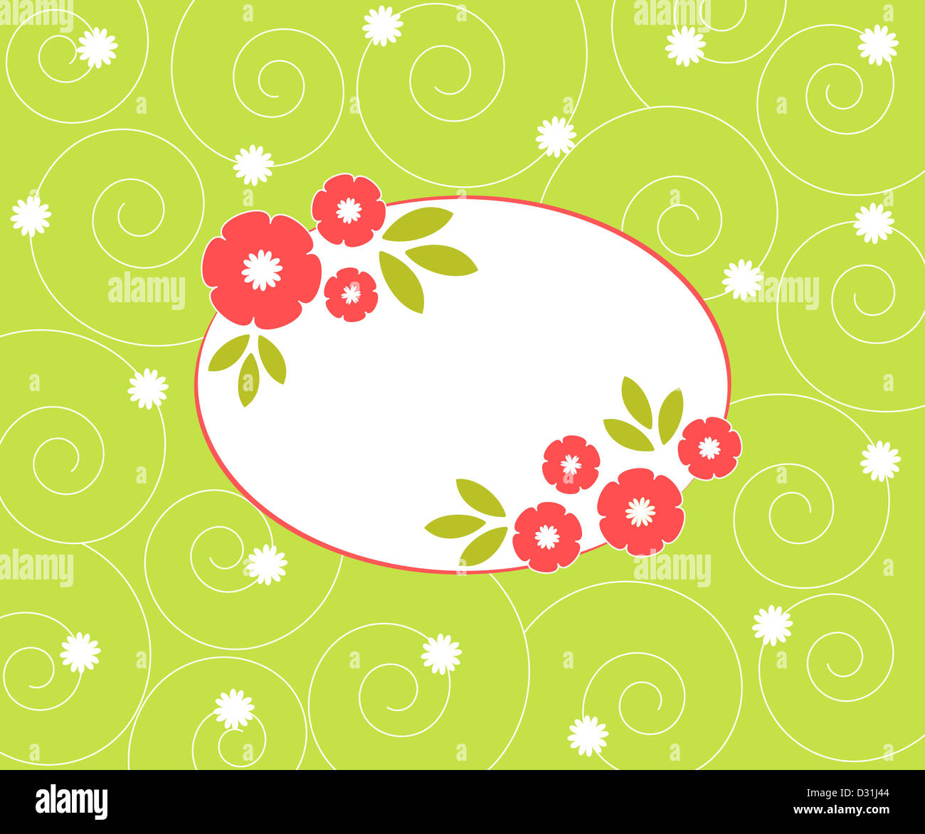 Colorful floral frame on spiral pattern Stock Photo