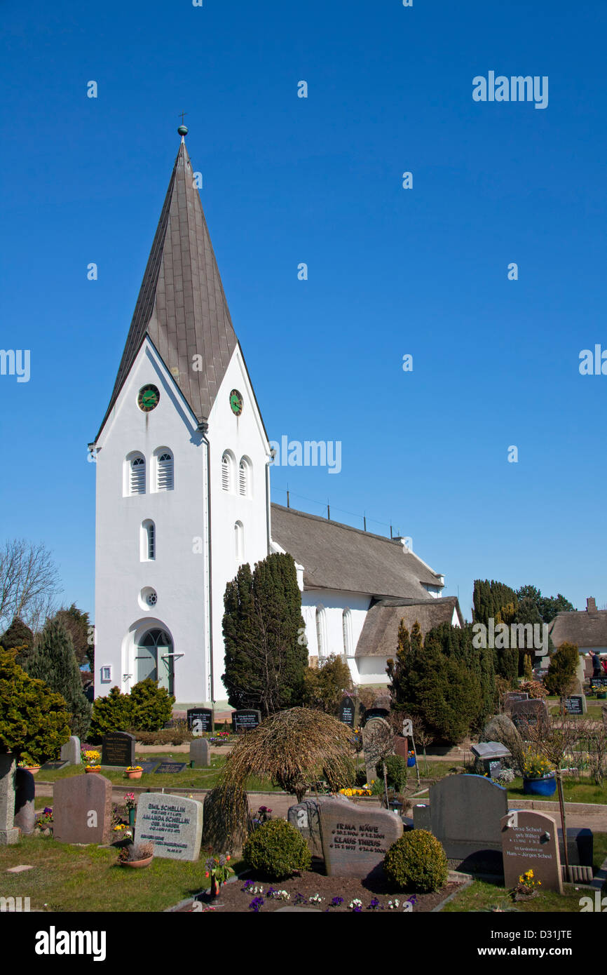 Church of St. Clement / St. Clemens-Kirche at Nebel on the island of Amrum, Nordfriesland, Schleswig-Holstein, Germany - Stock Image