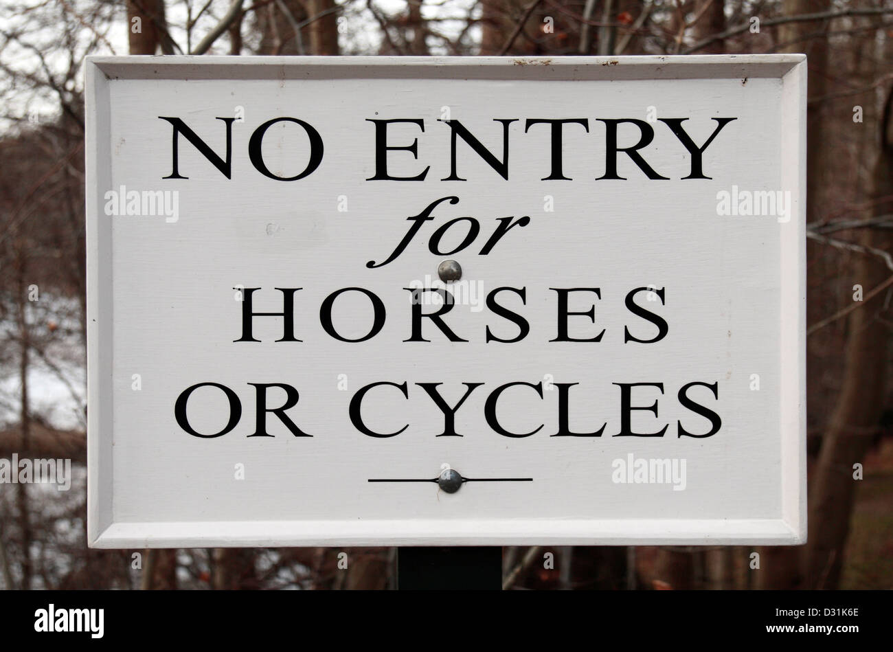Road sign advising 'No entry for horses or cycles' in Virginia Water, Surrey, UK. - Stock Image