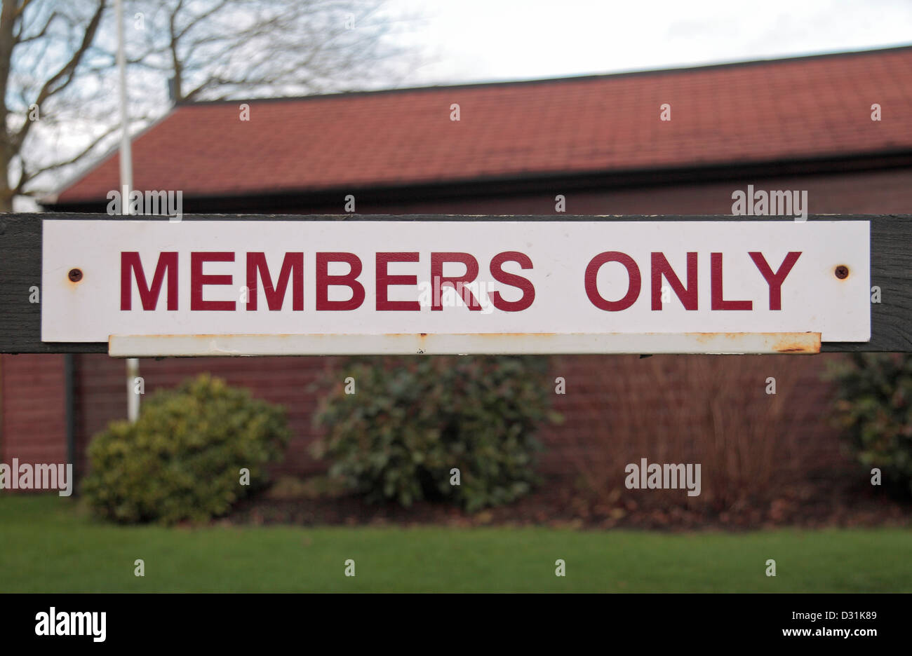 A 'Members Only' sign outside the Guards Polo Club, Windsor Great Park, Egham, UK. - Stock Image