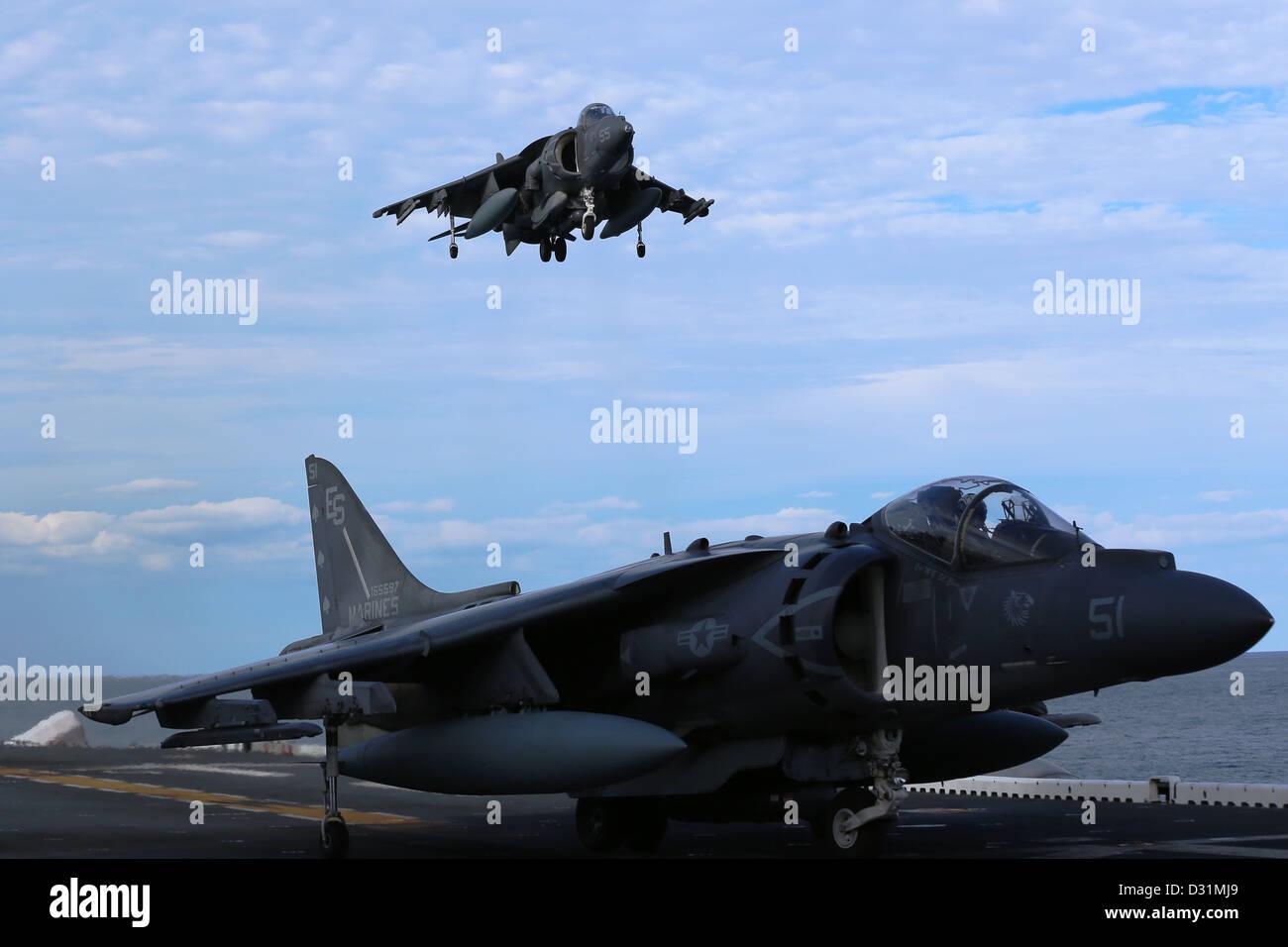 An AV-8B Harrier from Marine Medium Tiltrotor Squadron (VMM) 266 (Rein