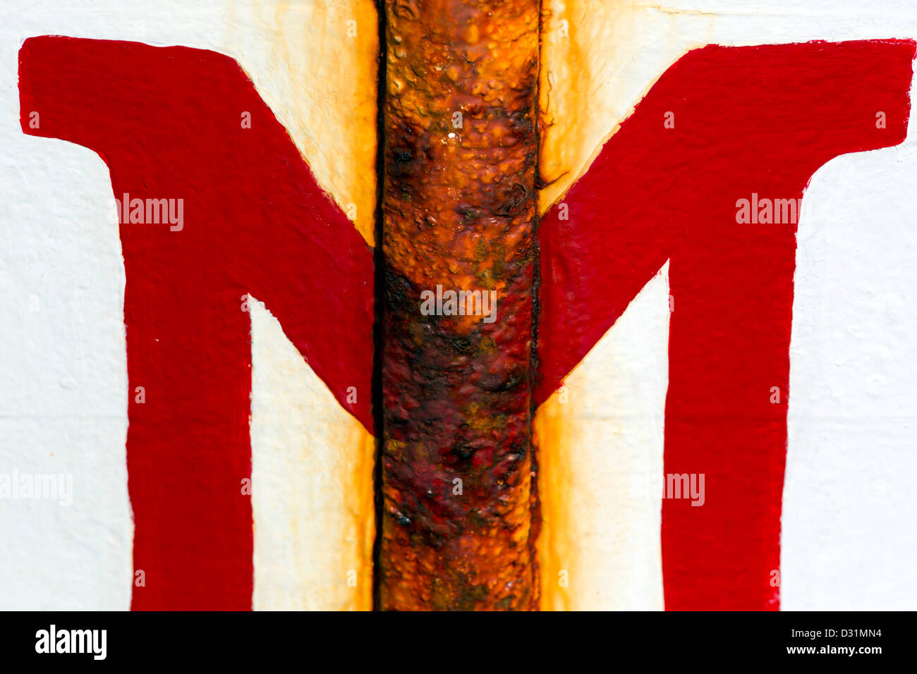 Rust and Red M; Symmetry; Fishing Boat Detail; - Stock Image
