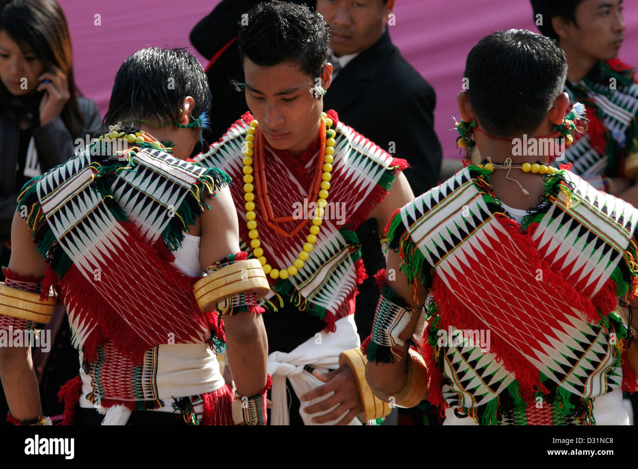 6e6ced2fea Young men from Angami Naga tribe dressed in traditional clothes, Kohima,  Nagaland, Northeast India