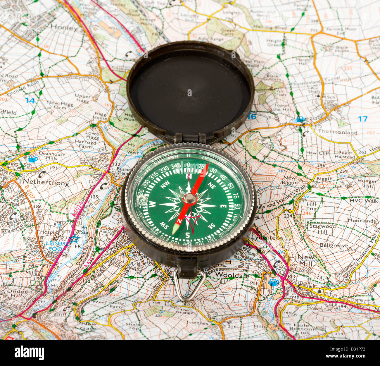 Compass on an Ordnance Survey map, UK - Stock Image
