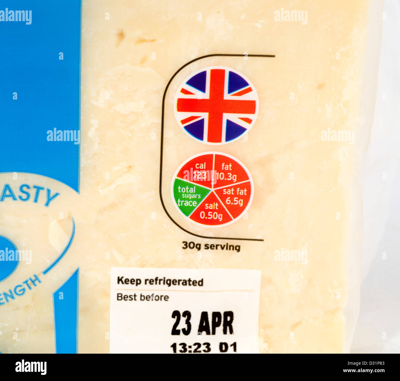 Close up of the 'traffic light' food label on a pack of Sainsnbury's cheddar cheese, UK - Stock Image