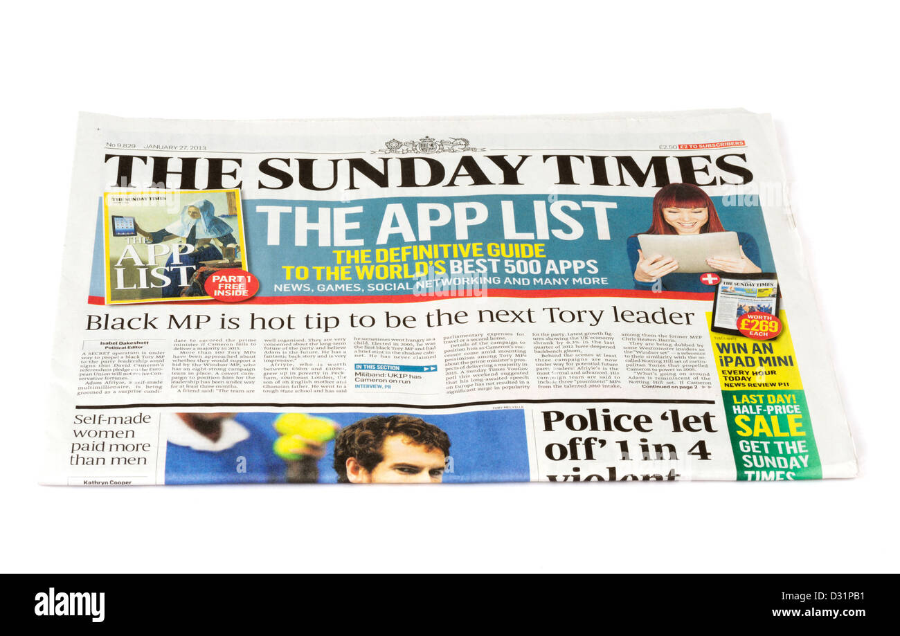 The Sunday Times UK national newspaper - Stock Image