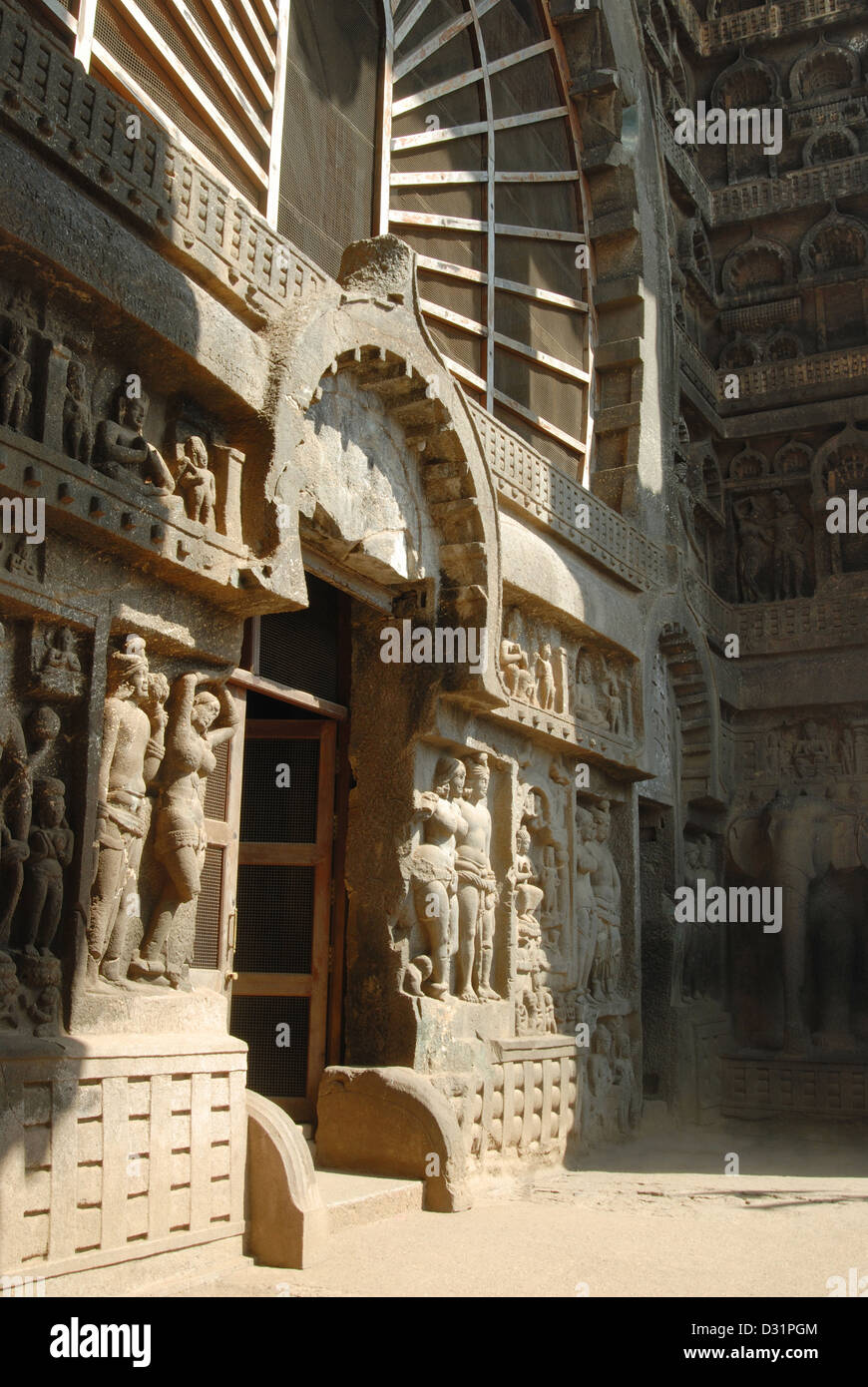 General-View of the Façade, Lower showing Chaitya arch, Mithuna couple and Sanchi rail pattern at the bottom, - Stock Image