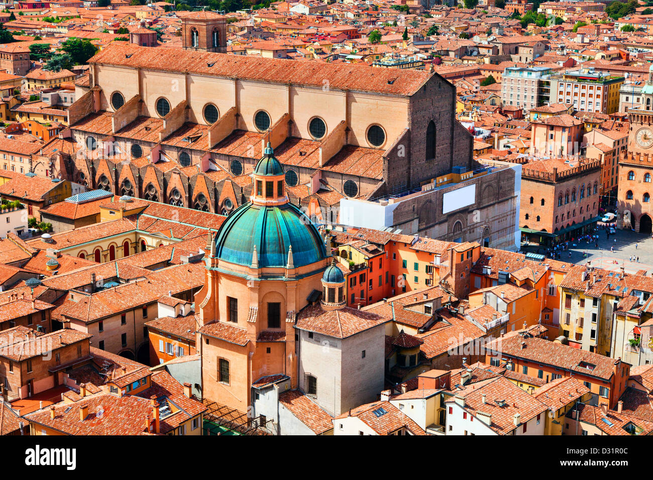 Aerial view of Piazza Maggiore and Basilica San Petrino from top of Asinelli tower, Bologna, Italy - Stock Image