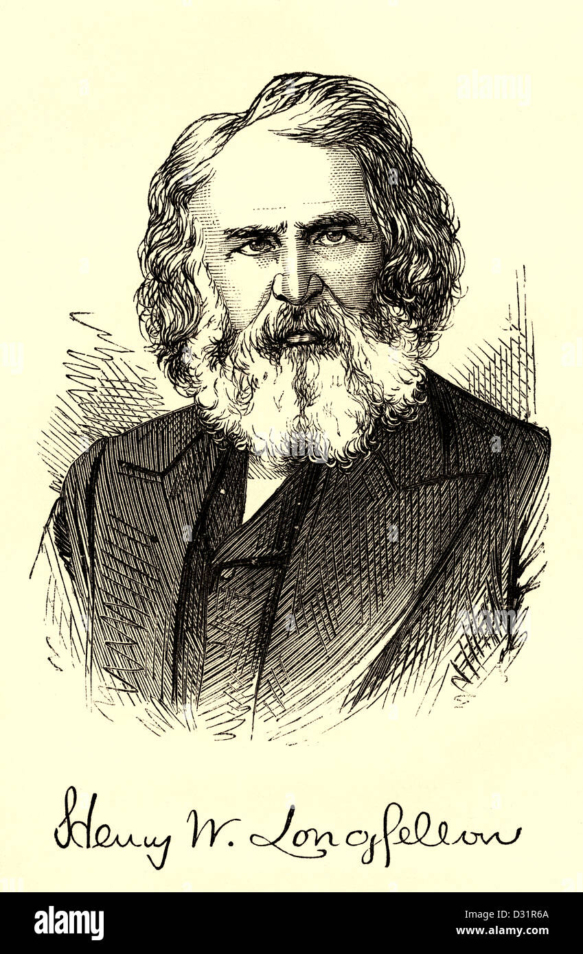 Black and White etched page portrait and signature of Henry Longfellow from his 1860's 'The Poetical Works - Stock Image