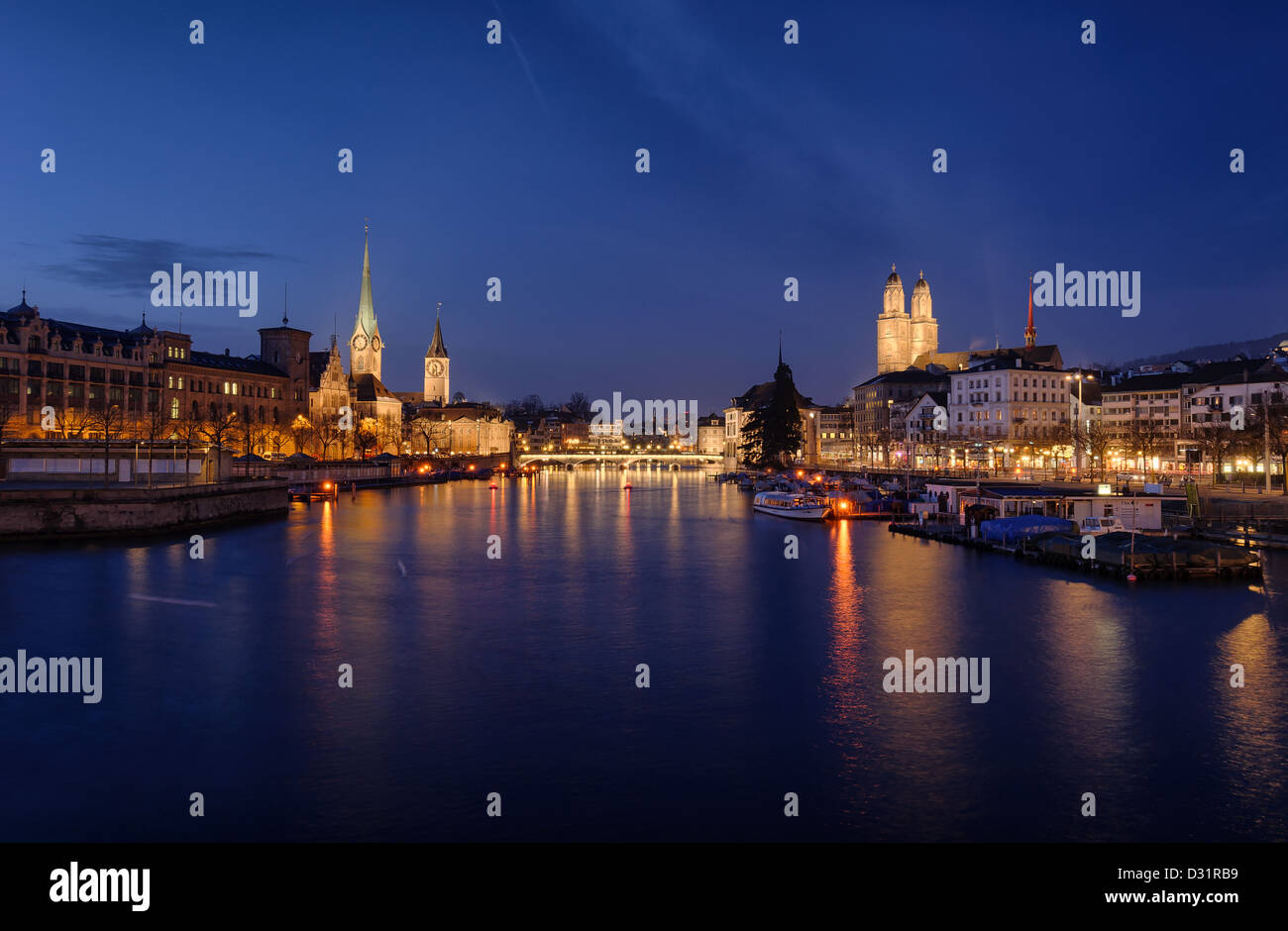 Zurich city center viewed from the river by night. Switzerland. - Stock Image