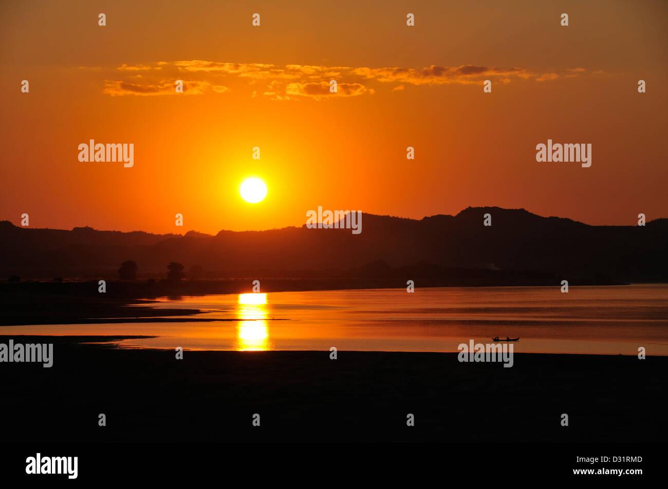 Sunset over Ayeyarwady River, Bagan, Burma, Myanmar Stock Photo