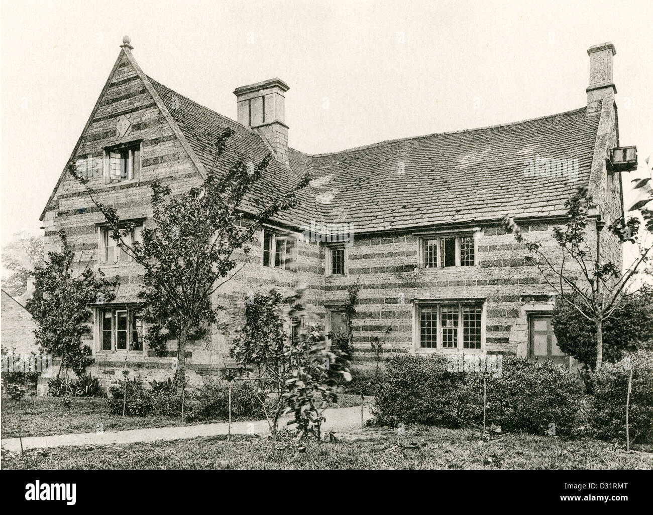 A collotype plate entitled ' The Manor House, Gretton, Northants.' scanned at high resolution from a book - Stock Image