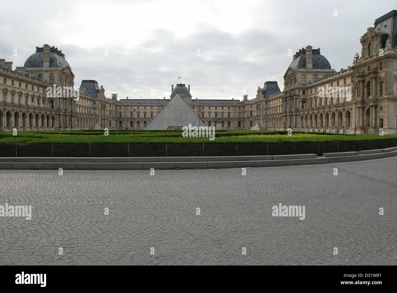 General-View of the portion of Louvre Museum complex, showing glass pyramid in the centre, Paris, France. - Stock Image