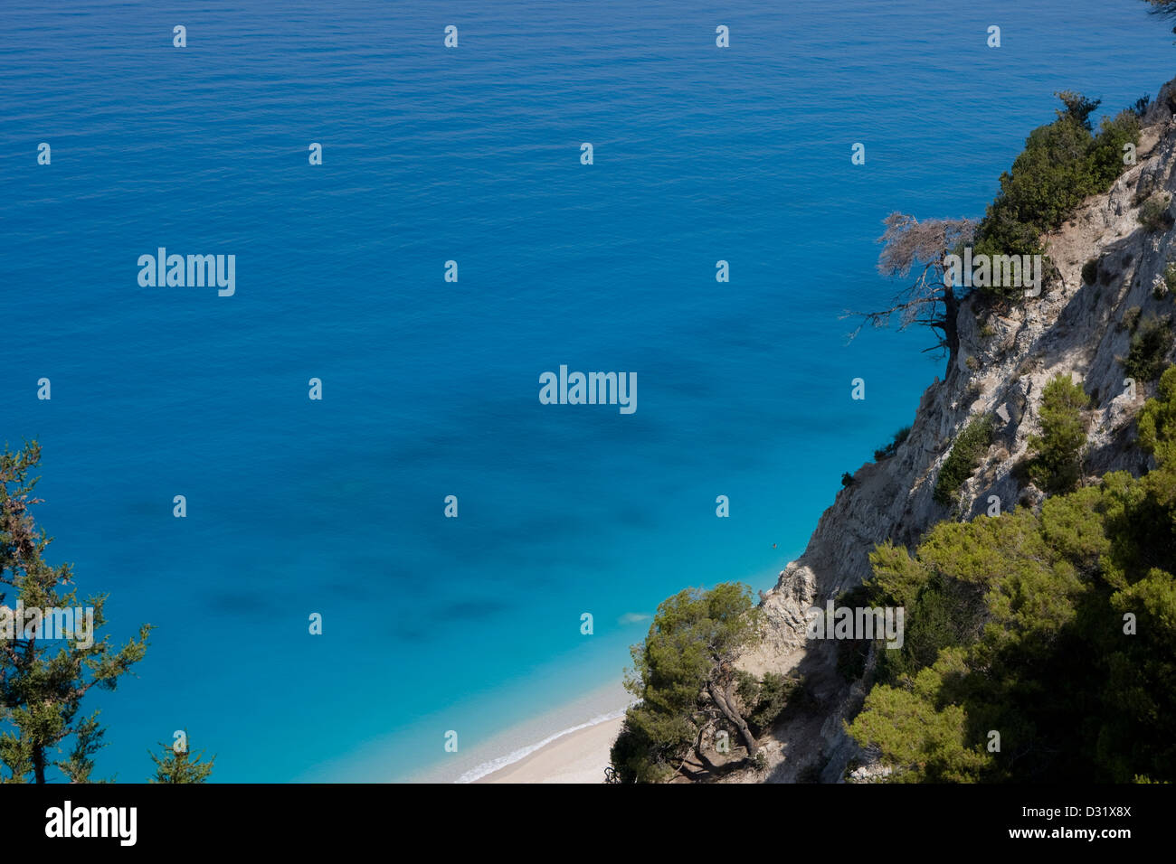 The steep cliffs over the turquoise waters of Egremni; Lefkada, Ionian islands. Greece. - Stock Image