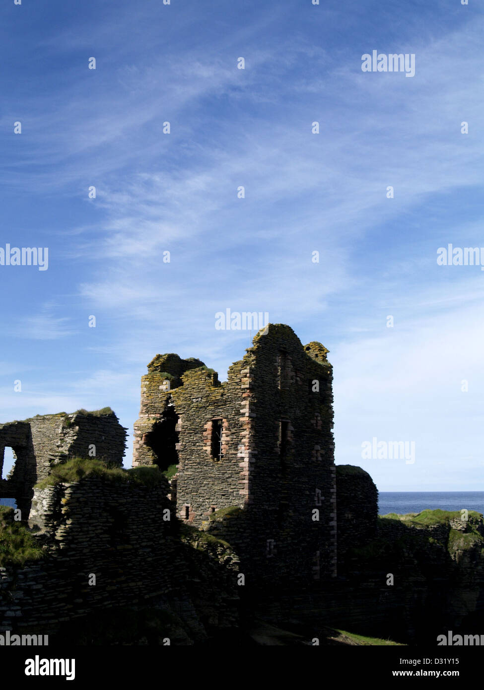The Castle of Sinclair and Girnigoe, on the Caithness coast, north of Wick in the Scottish Highlands - Stock Image