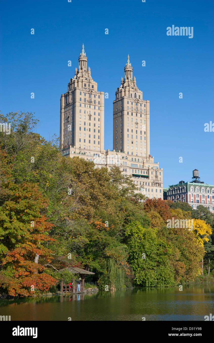 San Remo's twin towers, autumn in Central Park, New York, USA - Stock Image